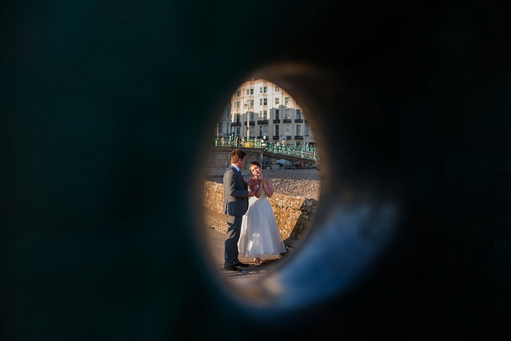 bride and groom in brighton